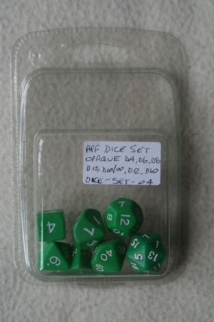 APF DICE-SET-04 (D4, D6, D8, D10, D10/00, D12 & D20) Opaque Poly Dice Set Green with White Numbers
